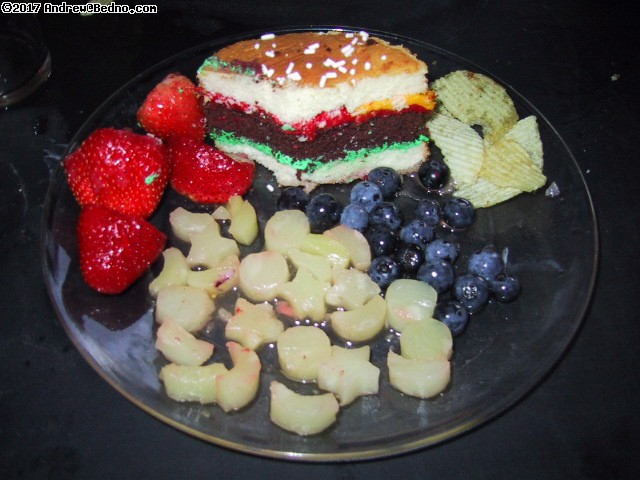 Burger cake with red/white/blue fruit. (click for next photo)