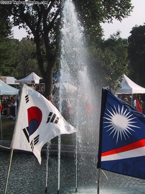 Flags and fountain. (click for next photo)