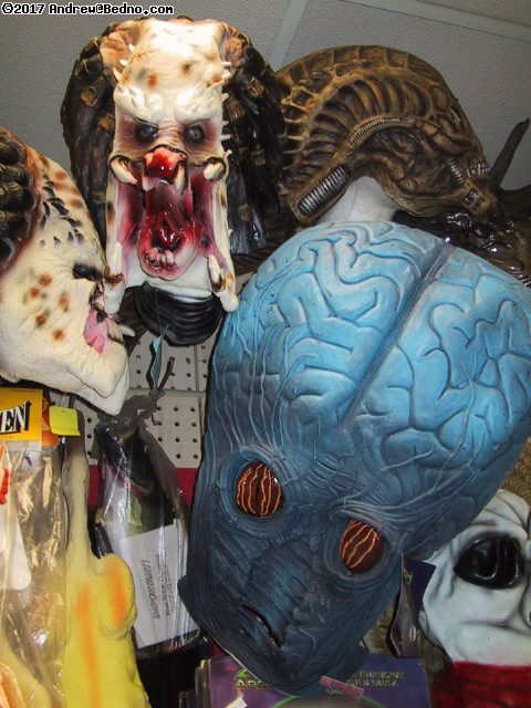 Fantasy Costume: Rubber masks department: Predators, 50s brain monster. (click for next photo)