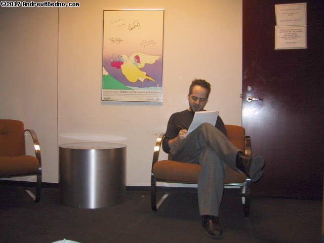 Spike Manton Show: Andrew preparing in green room. (click for next photo)
