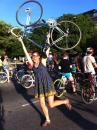 Annie doing bike salute. (click to zoom)