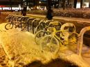 Bikes in snow downtown. (click to zoom)