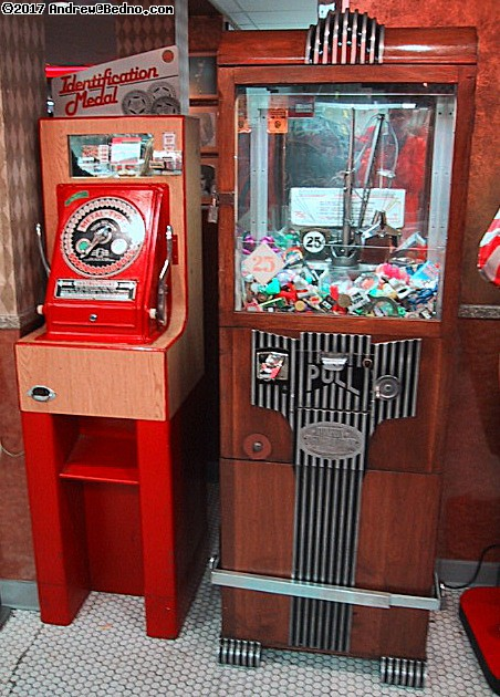 Lots of old arcade machines, including metal disk embossers!