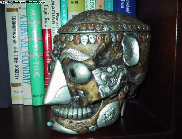 Decorated Nepalese monk skull.