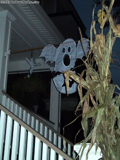 Ghost and corn stalks.