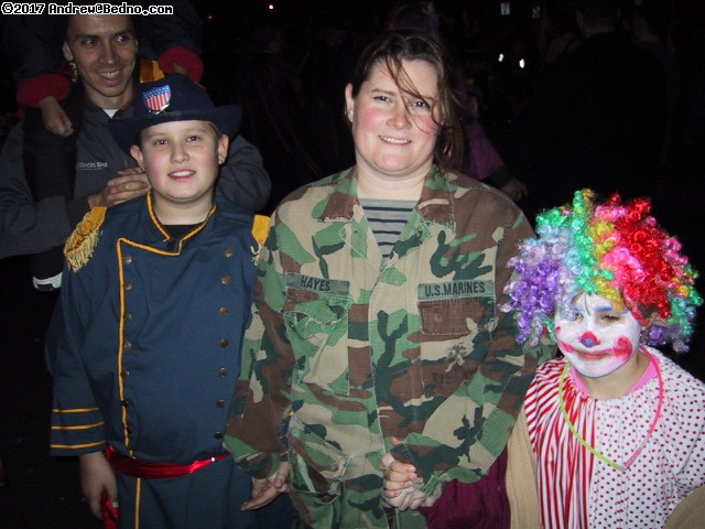 Redmoon Halloween ritual: Civil war general, marine, clown.