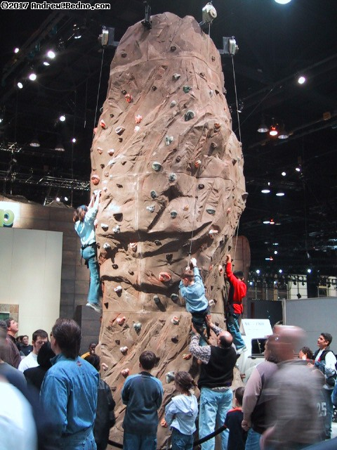 Chicago Auto Show: Rock climbing tower.