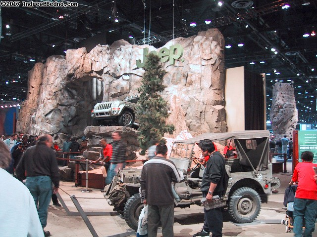 Chicago Auto Show: Jeeps, actual waterfall.