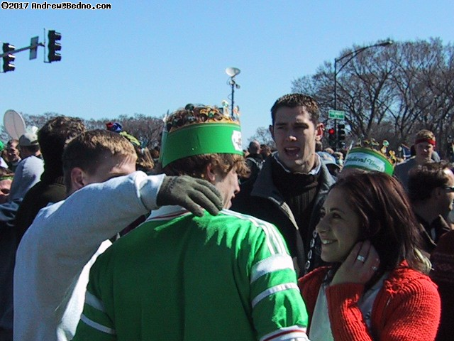 Saint Patrick's Day parade: Hook-up in progress.
