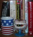 Andrew's new flag mug and teeth model. (click to zoom)