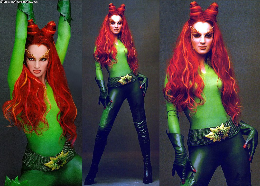 Halloween costume preparation for Poison Ivy.