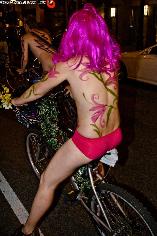 During 5th World Naked Bike Ride Chicago. (click for next photo)