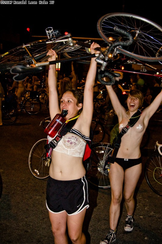During 5th World Naked Bike Ride Chicago.