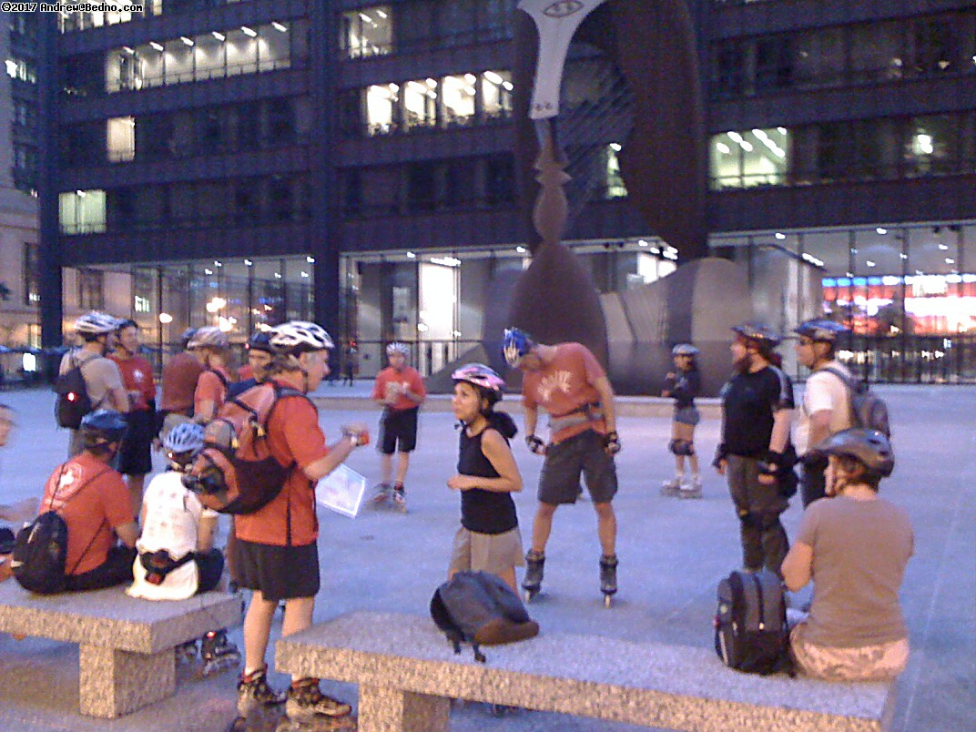 Skate Rave gathering in Daley Plaza.