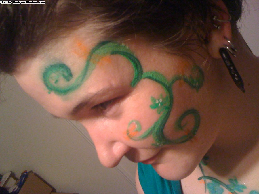 St. Patrick's Day body painting.