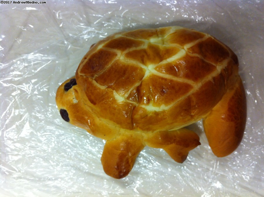 Turtle shaped pastry.
