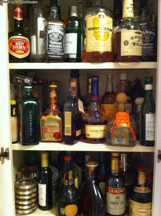 My non-drinking cousin keeps an excellent liquor cabinet.